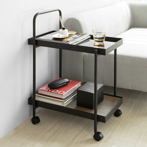 SoBuy Modern design 2 Tiers Serving Trolley,Steel Utility Cart,FKW91-SCH
