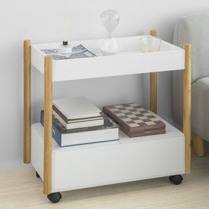 SoBuy 2 Tiers Serving Trolley Storage Shelf Side End Table on Wheels,FKW92-WN