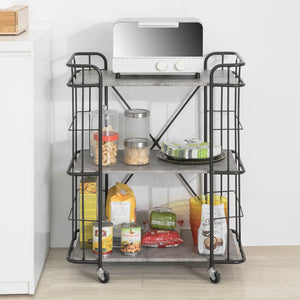 SoBuy 3 Tiers Kitchen Trolley Serving Trolley Storage Shelf Metal & MDF,FKW93-HG