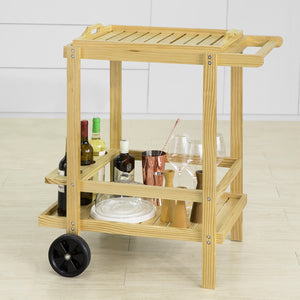SoBuy Wooden 2 Tiers Kitchen Trolley Serving Trolley Drink Trolley with Removable Tray,FKW95-N