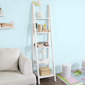 SoBuy 5 Tiers Ladder Storage Display Wall Shelf White,FRG101-W