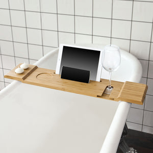 SoBuy Bathtub Rack, Bath Tub Shelf Tray with iPad Min/Mobile Phone Holder,FRG104-N
