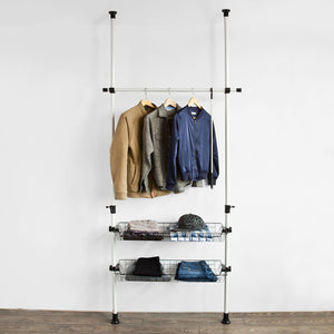SoBuy Height Adjustable Telescopic Wardrobe Organiser, Hanging Rail, FRG107