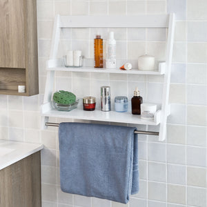 SoBuy White Wood Wall Mounted Storage Rack Bathroom Towel Rail FRG117-W