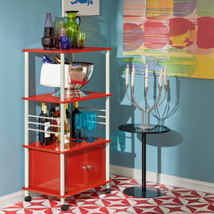 SoBuy Kitchen Storage Cabinet, Kitchen Cart, Microwave Shelf, FRG12-R, Red