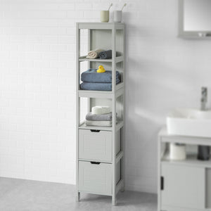 SoBuy Tall Bathroom Storage Cabinet with 3 Shelves and 2 Drawers Grey,FRG126-HG