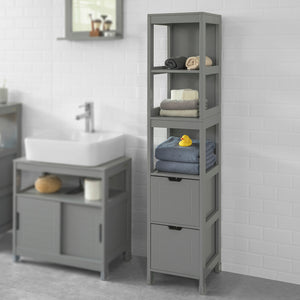 SoBuy Tall Bathroom Storage Cabinet with 3 Shelves and 2 Drawers, FRG126-SG