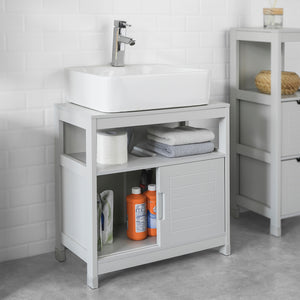 SoBuy Under Sink Bathroom Storage Cabinet with Shelf and Double Sliding Door,FRG128-HG