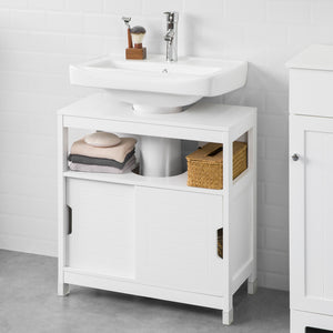 SoBuy FRG128-II-W, White Under Sink Bathroom Storage Cabinet with Double Sliding Door