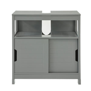 SoBuy Under Sink Bathroom Storage Cabinet with Shelf and Double Sliding Door,FRG128-SG