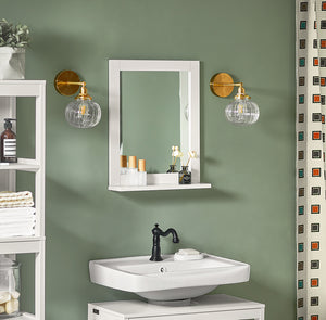 SoBuy Wood Wall Bathroom Mirror with Shelf, Bathroom Storage Rack, FRG129-W