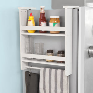SoBuy Refrigerator Hanging Kitchen Spice Holder Rack,White,FRG149-W