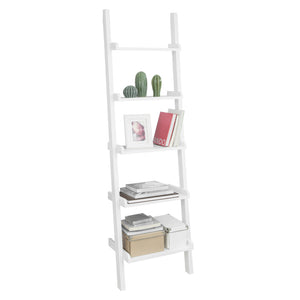 SoBuy Modern Wood Ladder Shelf, Wall Display Shelf, Bookcase, FRG17-W, White