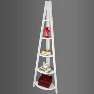 SoBuy White Wooden 5 Tiers Triangle Corner Tall Shelf,FRG20-W