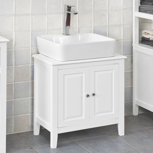 SoBuy White Wood Under Sink Basin Bathroom Storage Cabinet Unit, FRG202-W