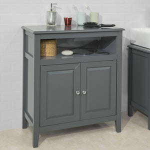 SoBuy Wood Free Standing Bathroom Storage Cabinet with Doors Grey, FRG204-DG