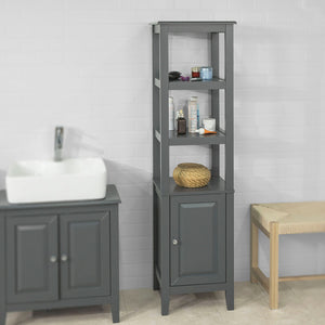 SoBuy Wood Standing Tall Boy Bathroom Storage Cabinet Unit Grey FRG205-DG