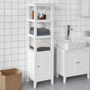 SoBuy Floor Standing Tall Boy Bathroom Storage Cabinet Unit, White, FRG205-W