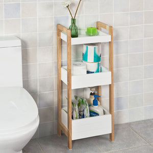 SoBuy 3 Tiers Bathroom Shelf Storage Display Shelf Rack Organizer Shelving Unit FRG226-WN