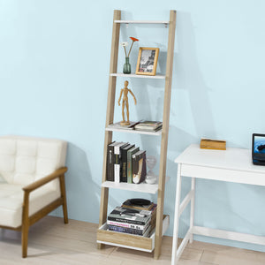 SoBuy Ladder Storage Wall Shelf Bookcase with 4 Shelves,FRG229-WN