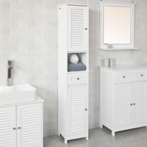 SoBuy White Free Standing Tallboy Bathroom Cabinet Storage Cupboard,FRG236-W,UK