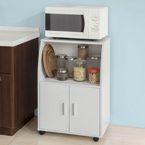 SoBuy White Wood Wheeled Kitchen Storage Cupboard Unit FRG241-W