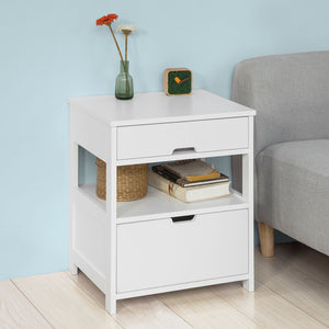 SoBuy Home Wood Beside End Table with 2 Drawers,White,FRG258-W