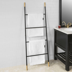 SoBuy FRG264-SCH, Metal Ladder Shelf Bathroom Towel Holder Stand with 4 Rods, 150cm High