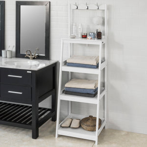 SoBuy Hallway Office Ladder Storage Shelf Standing Rack White Wood,FRG279