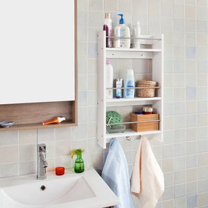 SoBuy Kitchen Storage Rack,Wall Cabinet, Bathroom Shelf,White,FRG33-W