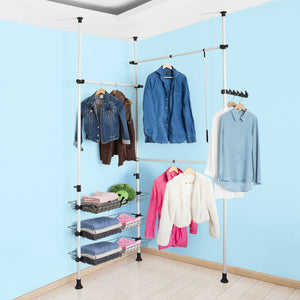 SoBuy Telescopic Wardrobe Hanging Rail,Clothes Rack FRG34