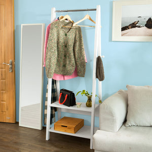 SoBuy White Modern Clothes Rail Stand Rack with Two Storage Shelves, FRG59-W