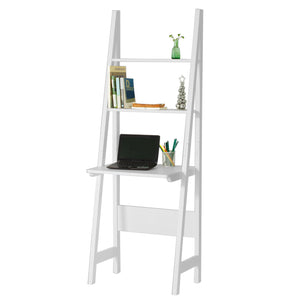 SoBuy White Modern Ladder Storage Display Shelf,Desk and 2 Shelves, FRG60-W