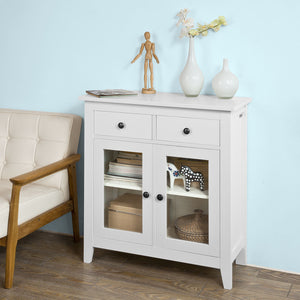 SoBuy Home Wood Storage Cabinet 2 Drawers and 2 Doors,White,FSB05-W