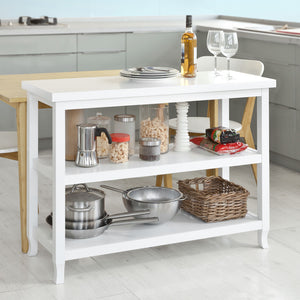 SoBuy Home White Wood Console Table in 3 Shelves,FSB06-W