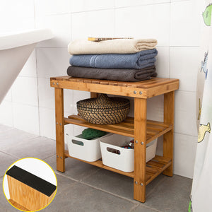 SoBuy® 100% Bamboo Shoe Rack Bench, Bathroom Shelf, 50cmx29cmx45cm, FSR02-K-N