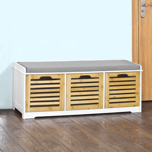 SoBuy Hallway Shoe Storage Bench With Drawers & Cushion,FSR23-WN