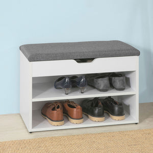 SoBuy White Wood 2 Tiers Shoe Storage Bench Cabinet with Padded Seat FSR25-HG