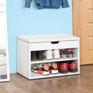 SoBuy White 2 Tiers Shoe Storage Bench with Padded Seat,FSR25-W