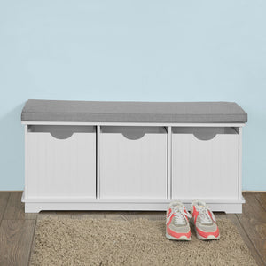 SoBuy Hallway Padded Shoe Storage Seat Bench Cabinet with Drawer ,FSR30-W
