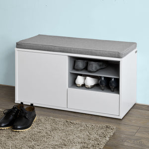 SoBuy Hallway Shoe Storage Bench Cabinet with Cushion, FSR37-W