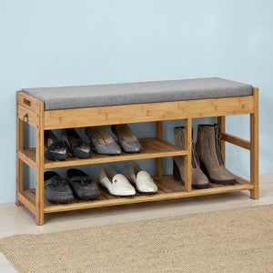 SoBuy Padded Hallway Shoe Storage Rack Bench with Storage Space,FSR47-N