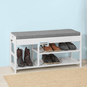 SoBuy Shoe Rack Shoe Bench with Lift Up Seat FSR47-W