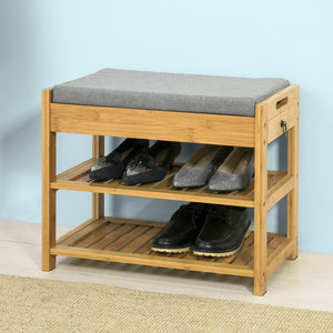 SoBuy Bamboo Padded Hallway Shoe Rack Seat Bench with Storage Drawer,FSR49-N