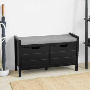 SoBuy FSR63-SCH Chest of drawers Bench with seat Shoe chest with storage space Shoe cabinet,black