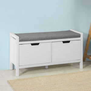SoBuy Bed End Hallway Padded Storage Bench Stool Ottoman White Wood,FSR63-W
