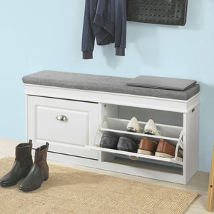 SoBuy Hallway Shoe Storage Bench Cabinet with Flip-drawer & Cushion FSR64-W