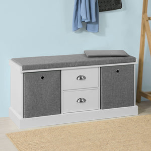 SoBuy Hallway Shoe Storage Bench Cabinet with 2 Baskets and Drawers FSR66-HG
