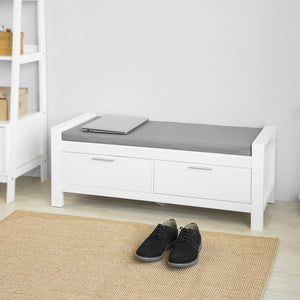 SoBuy FSR74-W, 2 Drawers Shoe Bench Shoe Rack Shoe Cabinet Hallway Storage Bench with Seat Cushion