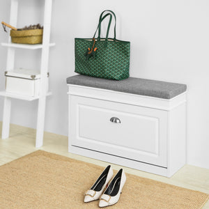 SoBuy FSR82-L-W, Hallway Shoe Bench Shoe Rack Shoe Cabinet with Flip-drawer and Seat Cushion, 75x24x51cm